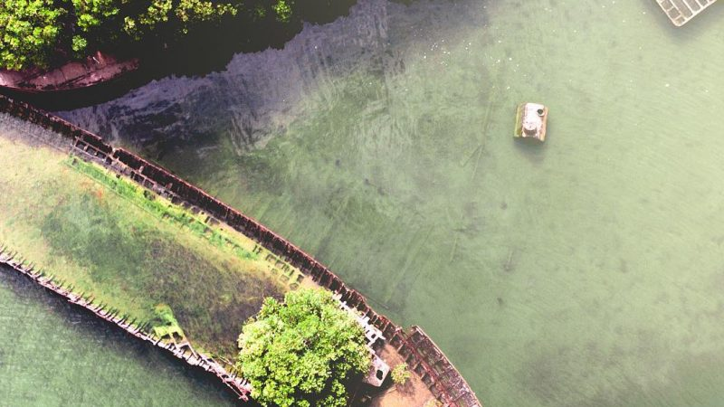 Image of a 19th century ship wreck in a river in Adelaide, Australia taken with a DJi Maverick drone.